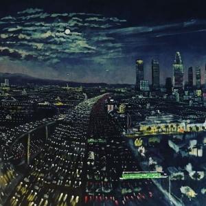 LA at night rush hour