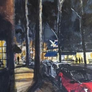 Marine Avenue at night