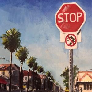 Stop sign Marine Avenue