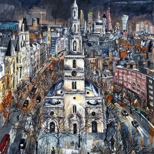 St Clements Danes at night