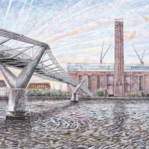 Millenium Bridge towards Tate Modern 2005