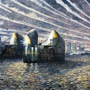 Thames Barrier at Night - July 2008 - Sold to Private Owner