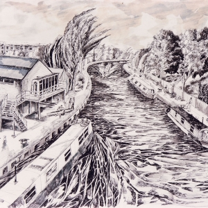Rowing Club and Lea Canal - 2001
