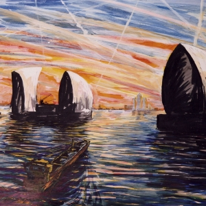 Thames Barrier sunset 2002 - Sold to Private Owner