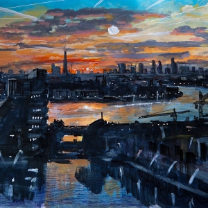 View of the City at Sunset from Canary Wharf - Artwork for sale