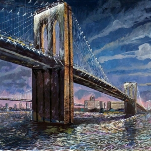 Brooklyn Bridge at Night - Storms on their way - Owned by Laurie Hollande