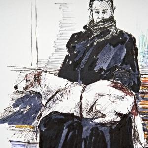 Lady with big dog