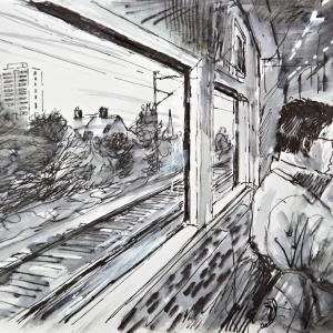 Man on train Kensal Rise 2011