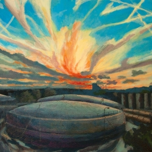 Gasometer at sunset in Chelsea 2011