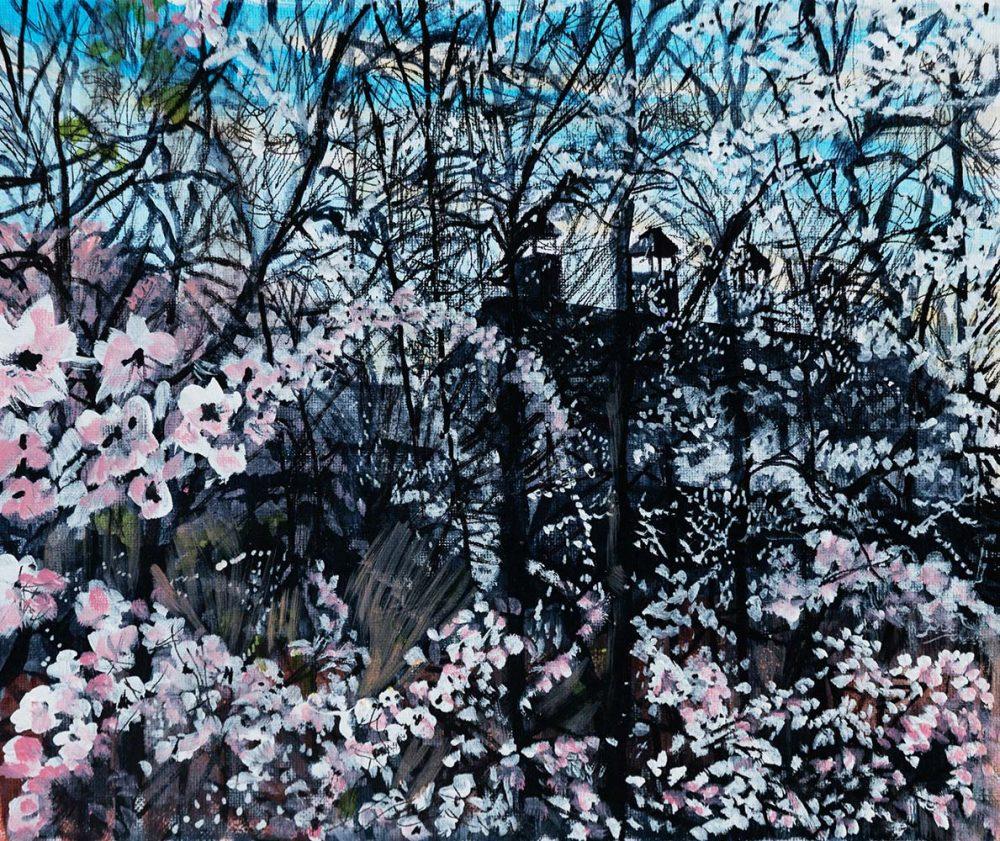Snape Maltings through the Spring Blossom